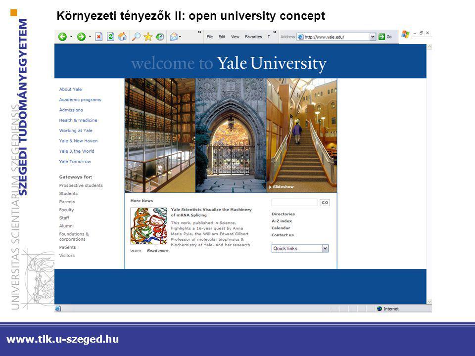 www.tik.u-szeged.hu Környezeti tényezők II: open university concept