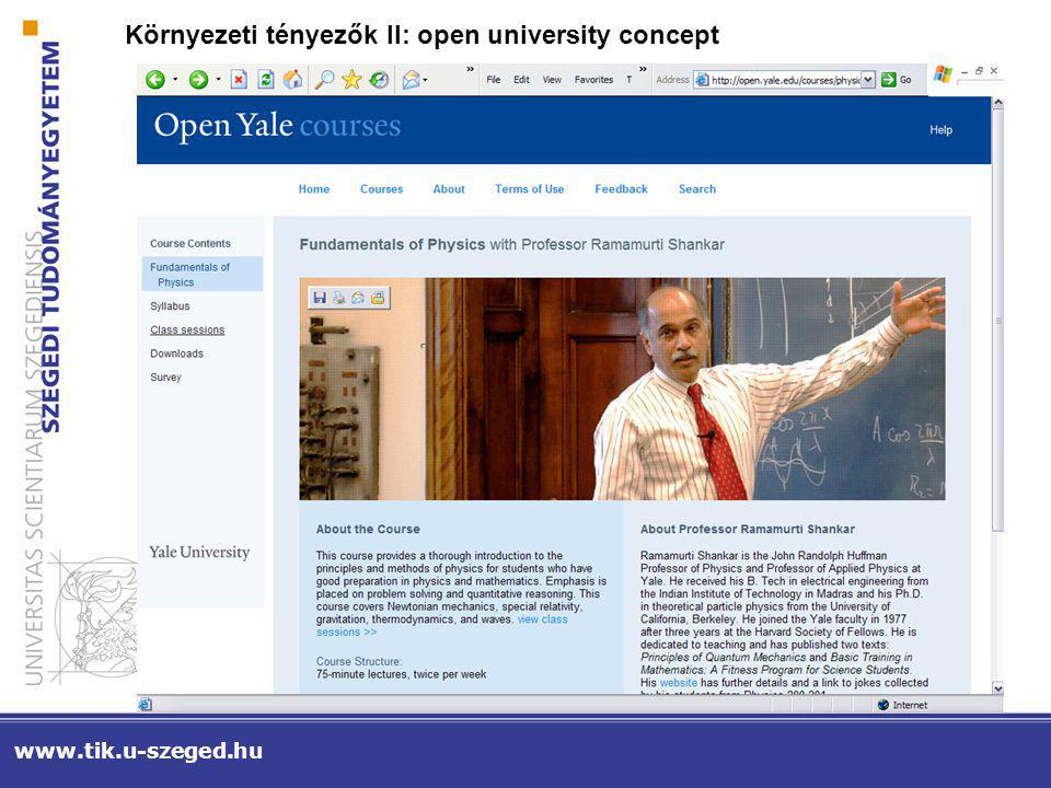 www.tik.u-szeged.hu KÖRNYEZETI TÉNYEZŐK III: INFRASTRUKTÚRA FEJLESZTÉSEK 2006-2007-2008 Ember – digitális írástudás Eszköz – digitális infrastruktúra Tartalom - digitalizált információk (HEFOP, TIOP)