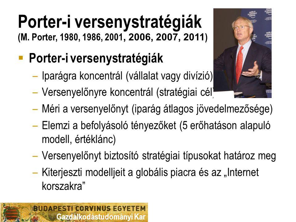 Gazdálkodástudományi Kar  Porter-i versenystratégiák –Iparágra koncentrál (vállalat vagy divízió) –Versenyelőnyre koncentrál (stratégiai cél) –Méri a