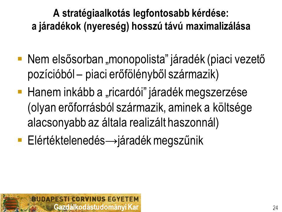 """Gazdálkodástudományi Kar A stratégiaalkotás legfontosabb kérdése: a járadékok (nyereség) hosszú távú maximalizálása 24  Nem elsősorban """"monopolista"""""""