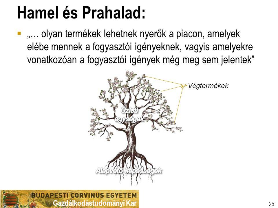 """Gazdálkodástudományi Kar Hamel és Prahalad:  """"… olyan termékek lehetnek nyerők a piacon, amelyek elébe mennek a fogyasztói igényeknek, vagyis amelyek"""
