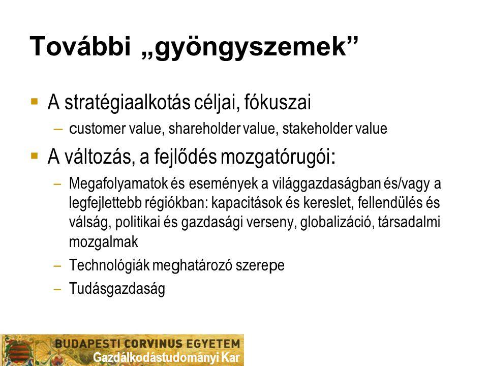 """Gazdálkodástudományi Kar További """"gyöngyszemek""""  A stratégiaalkotás céljai, fókuszai –c ustomer value, shareholder value, stakeholder value  A válto"""