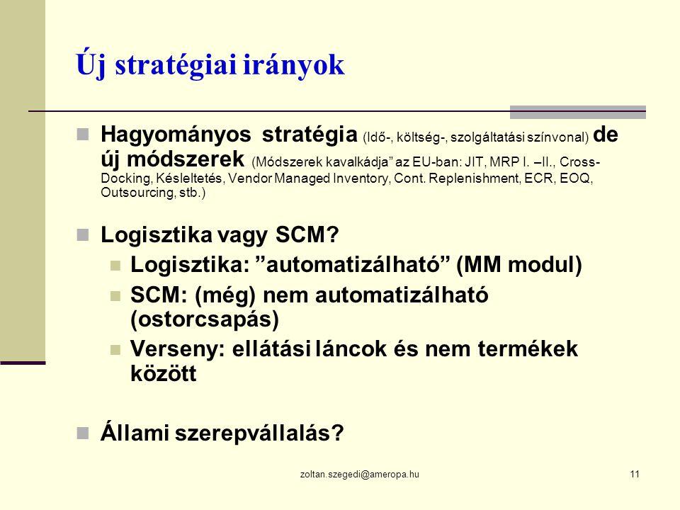 zoltan.szegedi@ameropa.hu11 Új stratégiai irányok  Hagyományos stratégia (Idő-, költség-, szolgáltatási színvonal) de új módszerek (Módszerek kavalkádja az EU-ban: JIT, MRP I.