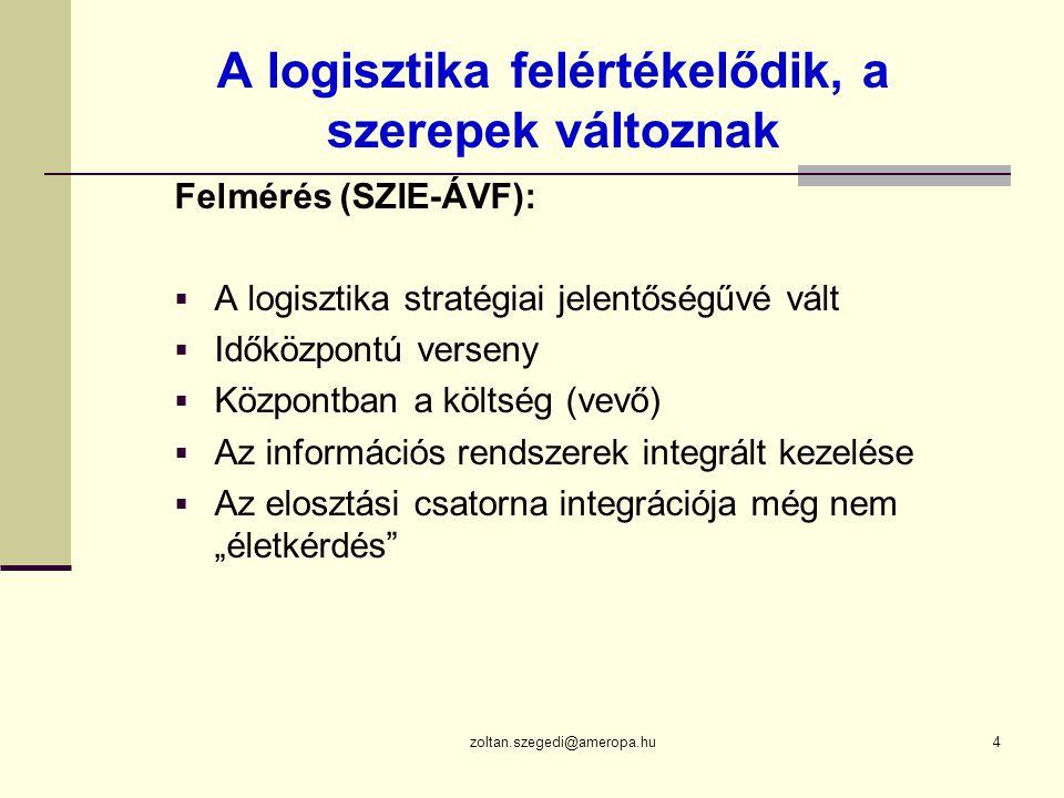 """zoltan.szegedi@ameropa.hu4 A logisztika felértékelődik, a szerepek változnak Felmérés (SZIE-ÁVF):  A logisztika stratégiai jelentőségűvé vált  Időközpontú verseny  Központban a költség (vevő)  Az információs rendszerek integrált kezelése  Az elosztási csatorna integrációja még nem """"életkérdés"""