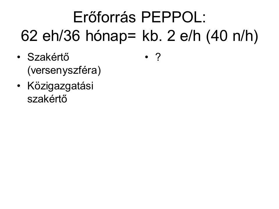Erőforrás PEPPOL: 62 eh/36 hónap= kb.
