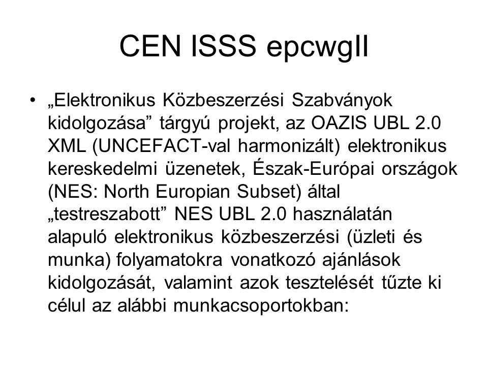 """CEN ISSS epcwgII •""""Elektronikus Közbeszerzési Szabványok kidolgozása tárgyú projekt, az OAZIS UBL 2.0 XML (UNCEFACT-val harmonizált) elektronikus kereskedelmi üzenetek, Észak-Európai országok (NES: North Europian Subset) által """"testreszabott NES UBL 2.0 használatán alapuló elektronikus közbeszerzési (üzleti és munka) folyamatokra vonatkozó ajánlások kidolgozását, valamint azok tesztelését tűzte ki célul az alábbi munkacsoportokban:"""