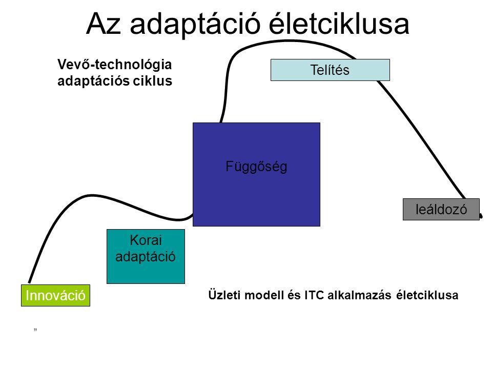 Az adaptáció életciklusa Innováció Korai adaptáció Függőség Telítés leáldozó Vevő-technológia adaptációs ciklus Üzleti modell és ITC alkalmazás életciklusa