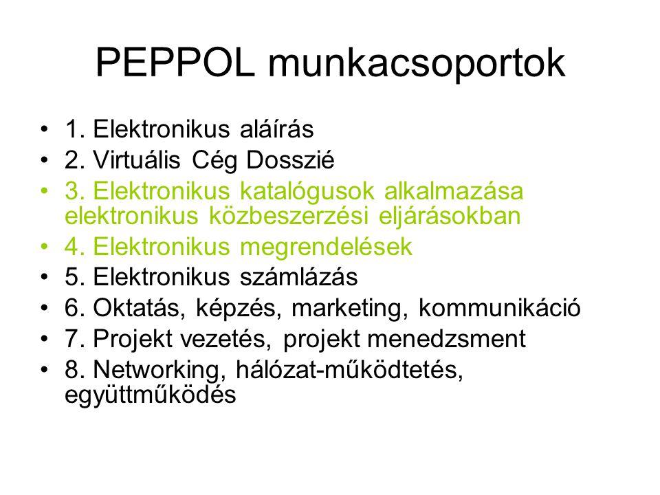 PEPPOL munkacsoportok •1. Elektronikus aláírás •2.