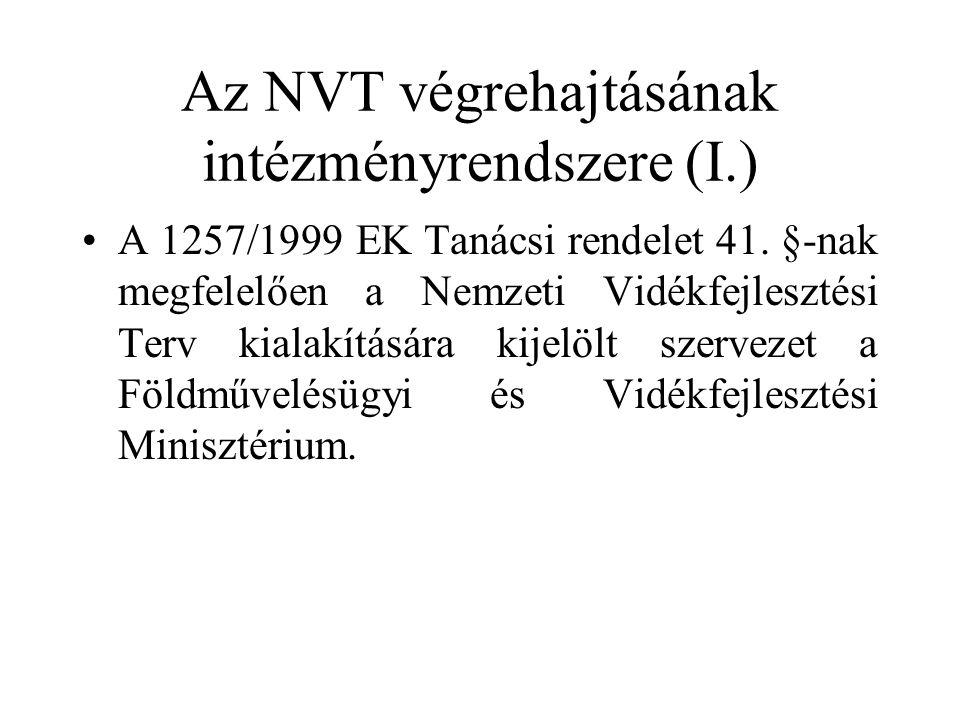 Az NVT végrehajtásának intézményrendszere (I.) •A 1257/1999 EK Tanácsi rendelet 41.