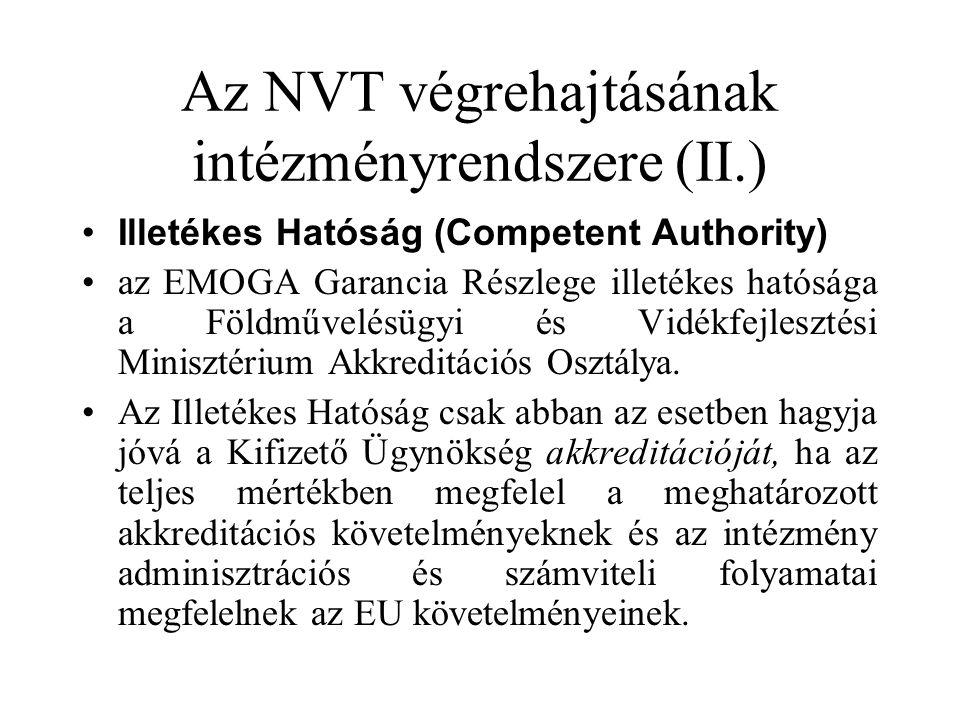 Az NVT végrehajtásának intézményrendszere (II.) •Illetékes Hatóság (Competent Authority) •az EMOGA Garancia Részlege illetékes hatósága a Földművelésügyi és Vidékfejlesztési Minisztérium Akkreditációs Osztálya.