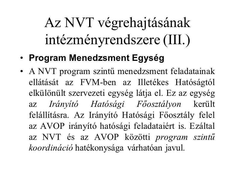 Az NVT végrehajtásának intézményrendszere (III.) •Program Menedzsment Egység •A NVT program szintű menedzsment feladatainak ellátását az FVM-ben az Illetékes Hatóságtól elkülönült szervezeti egység látja el.