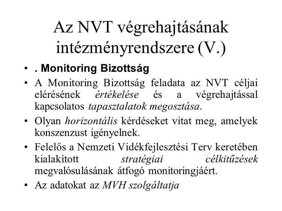 Az NVT végrehajtásának intézményrendszere (V.) •.