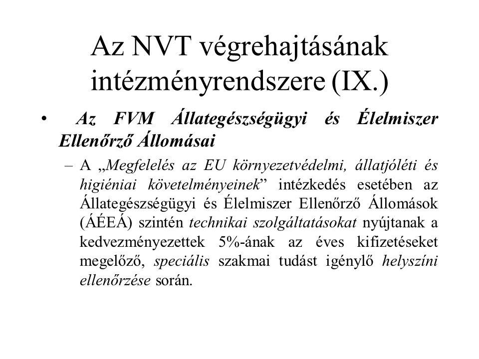 """Az NVT végrehajtásának intézményrendszere (IX.) • Az FVM Állategészségügyi és Élelmiszer Ellenőrző Állomásai –A """"Megfelelés az EU környezetvédelmi, állatjóléti és higiéniai követelményeinek intézkedés esetében az Állategészségügyi és Élelmiszer Ellenőrző Állomások (ÁÉEÁ) szintén technikai szolgáltatásokat nyújtanak a kedvezményezettek 5%-ának az éves kifizetéseket megelőző, speciális szakmai tudást igénylő helyszíni ellenőrzése során."""
