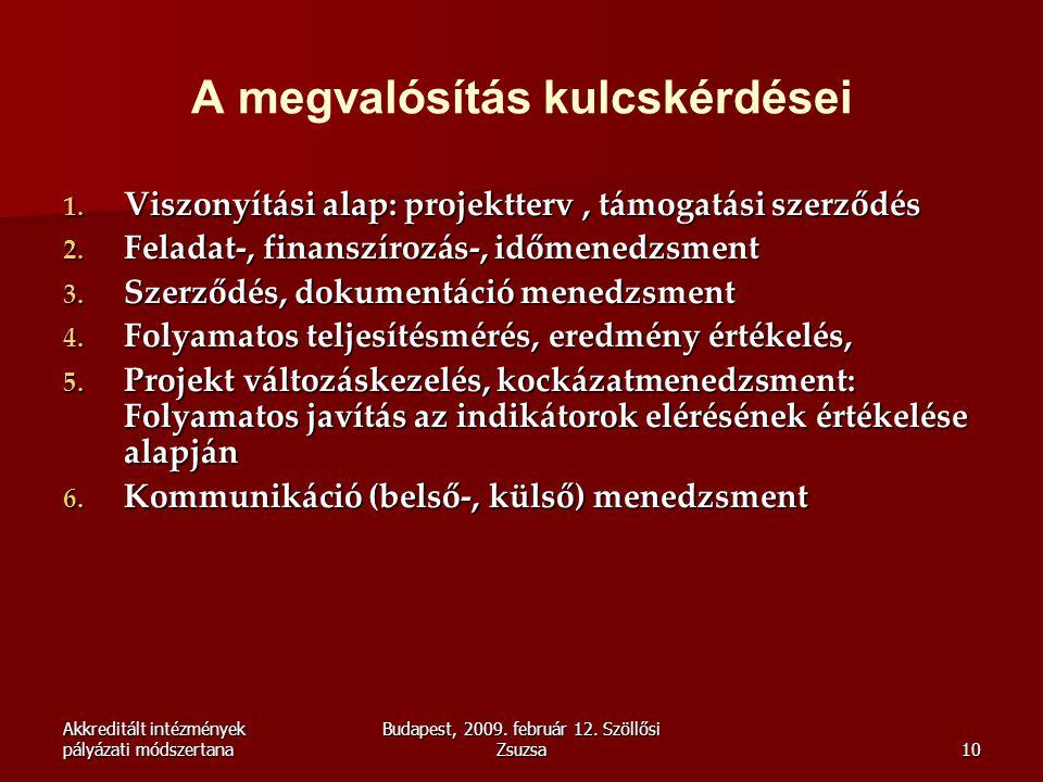 Akkreditált intézmények pályázati módszertana Budapest, 2009. február 12. Szöllősi Zsuzsa10 A megvalósítás kulcskérdései 1. Viszonyítási alap: projekt