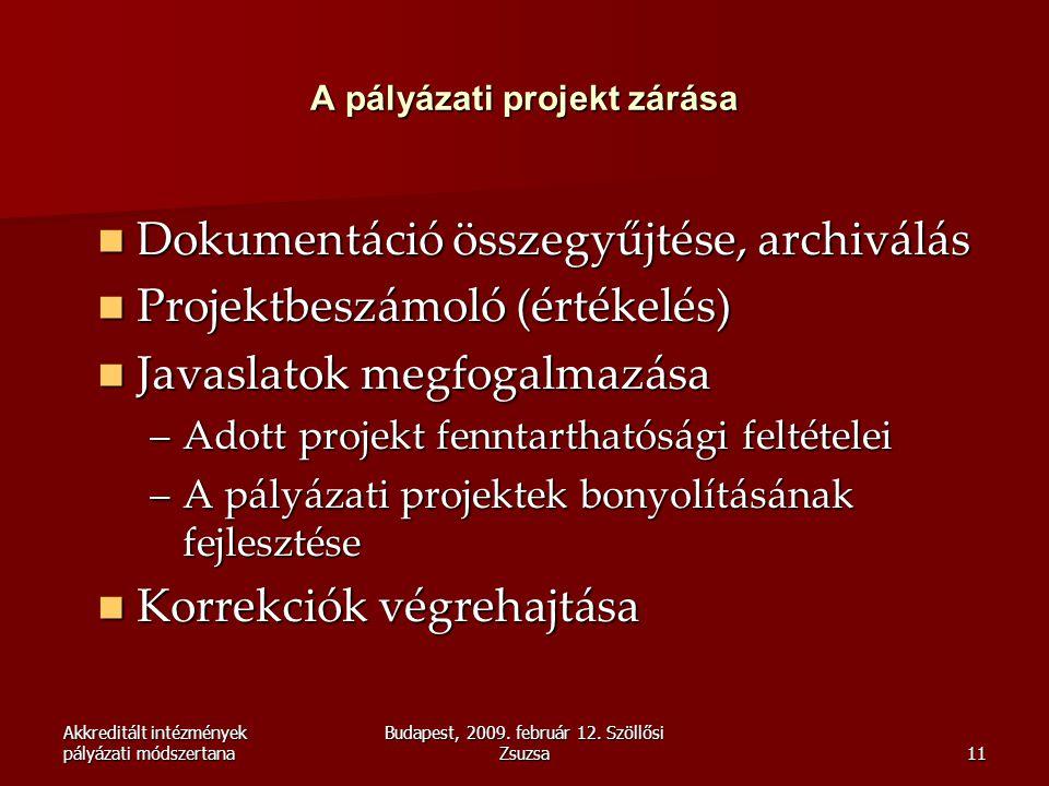 Akkreditált intézmények pályázati módszertana Budapest, 2009. február 12. Szöllősi Zsuzsa11 A pályázati projekt zárása  Dokumentáció összegyűjtése, a