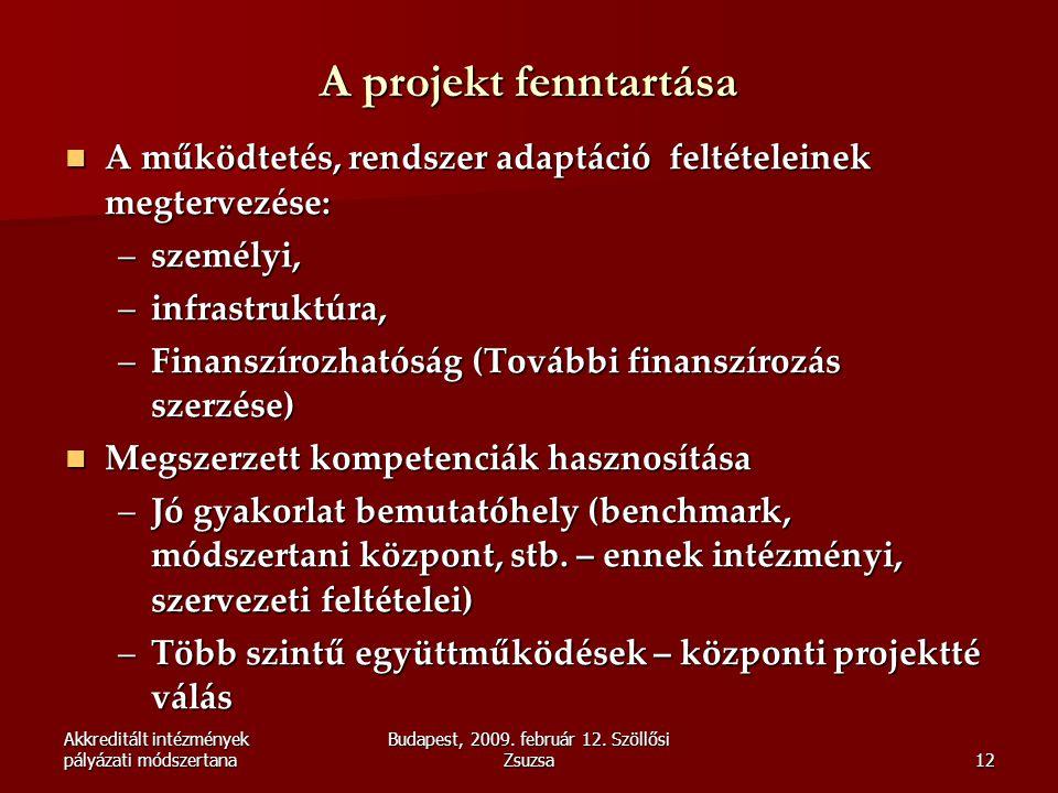 Akkreditált intézmények pályázati módszertana Budapest, 2009. február 12. Szöllősi Zsuzsa12 A projekt fenntartása  A működtetés, rendszer adaptáció f