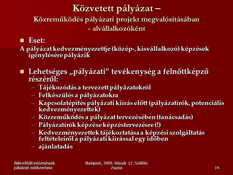 Akkreditált intézmények pályázati módszertana Budapest, 2009. február 12. Szöllősi Zsuzsa14 Közvetett pályázat – Közreműködés pályázati projekt megval