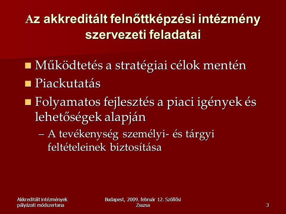 Akkreditált intézmények pályázati módszertana Budapest, 2009. február 12. Szöllősi Zsuzsa3 A z akkreditált felnőttképzési intézmény szervezeti feladat