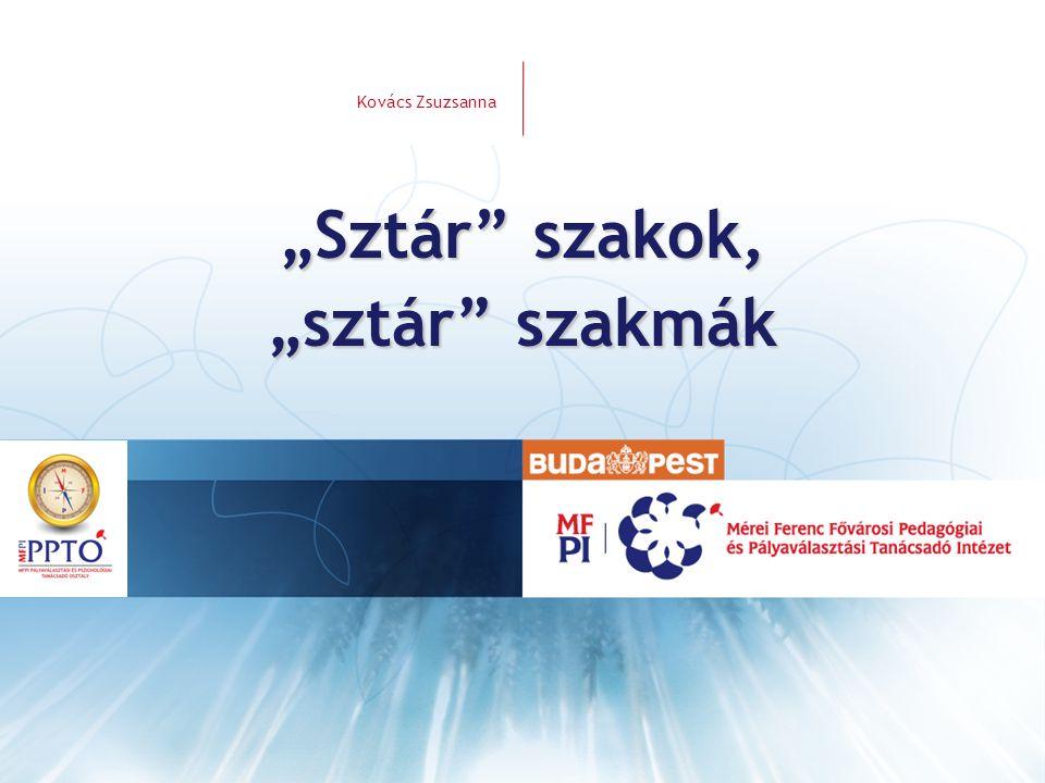 """Források Kovács Zsuzsanna """"Sztár szakok, sztár szakmák •Közép-magyarországi Regionális Fejlesztési és Képzési Bizottság http://www.oh.gov.hu/regionalis-fejlesztesi/kozep- magyarorszagi-regio/cikk-cime (2010.nov.3."""
