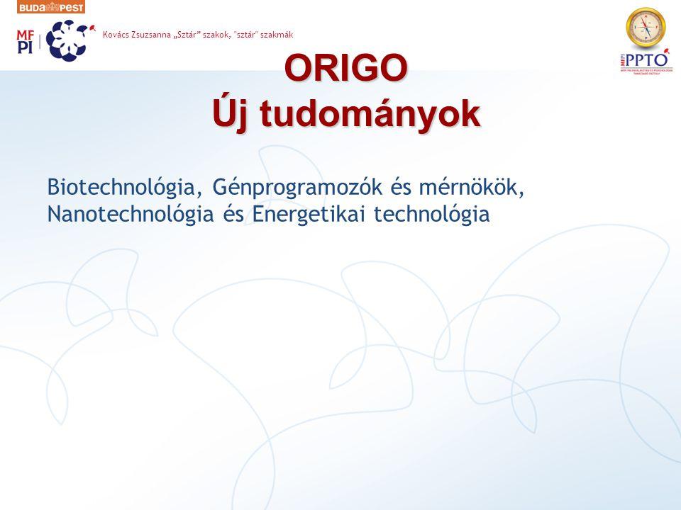 """ORIGO Új tudományok Kovács Zsuzsanna """"Sztár szakok, sztár szakmák Biotechnológia, Génprogramozók és mérnökök, Nanotechnológia és Energetikai technológia"""