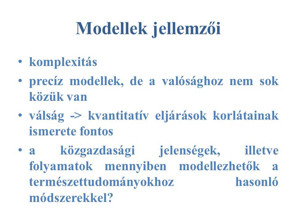 Modellek jellemzői • komplexitás • precíz modellek, de a valósághoz nem sok közük van • válság -> kvantitatív eljárások korlátainak ismerete fontos • a közgazdasági jelenségek, illetve folyamatok mennyiben modellezhetők a természettudományokhoz hasonló módszerekkel