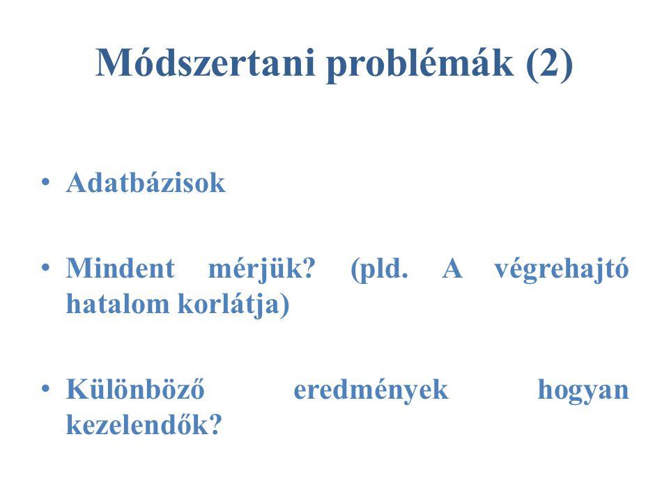Módszertani problémák (2) • Adatbázisok • Mindent mérjük.