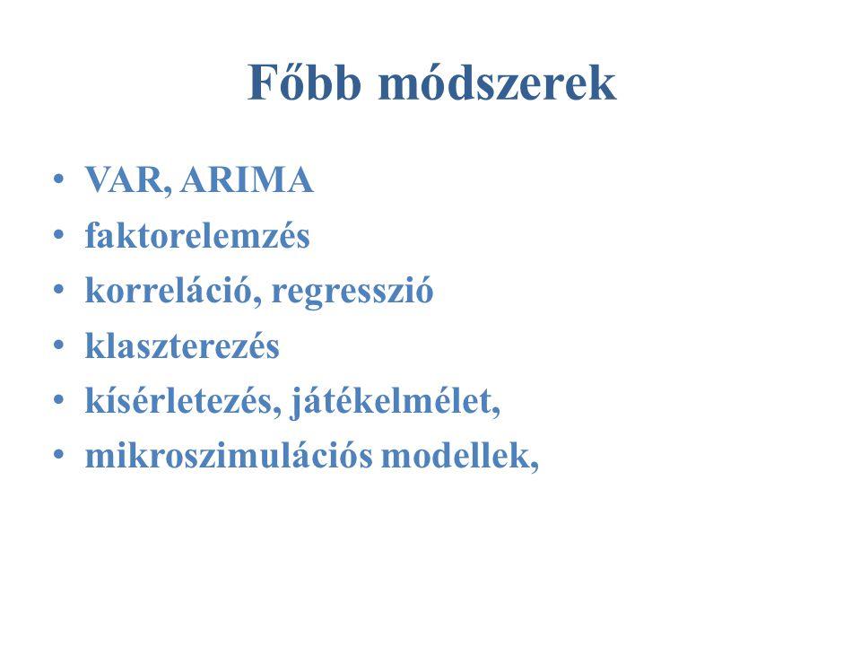 Főbb módszerek • VAR, ARIMA • faktorelemzés • korreláció, regresszió • klaszterezés • kísérletezés, játékelmélet, • mikroszimulációs modellek,