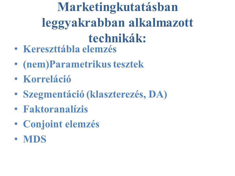 Marketingkutatásban leggyakrabban alkalmazott technikák: • Kereszttábla elemzés • (nem)Parametrikus tesztek • Korreláció • Szegmentáció (klaszterezés, DA) • Faktoranalízis • Conjoint elemzés • MDS