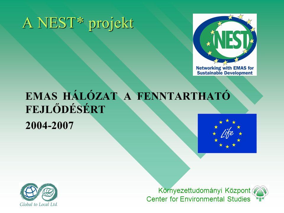 Környezettudományi Központ Center for Environmental Studies A NEST* projekt EMAS HÁLÓZAT A FENNTARTHATÓ FEJLŐDÉSÉRT 2004-2007