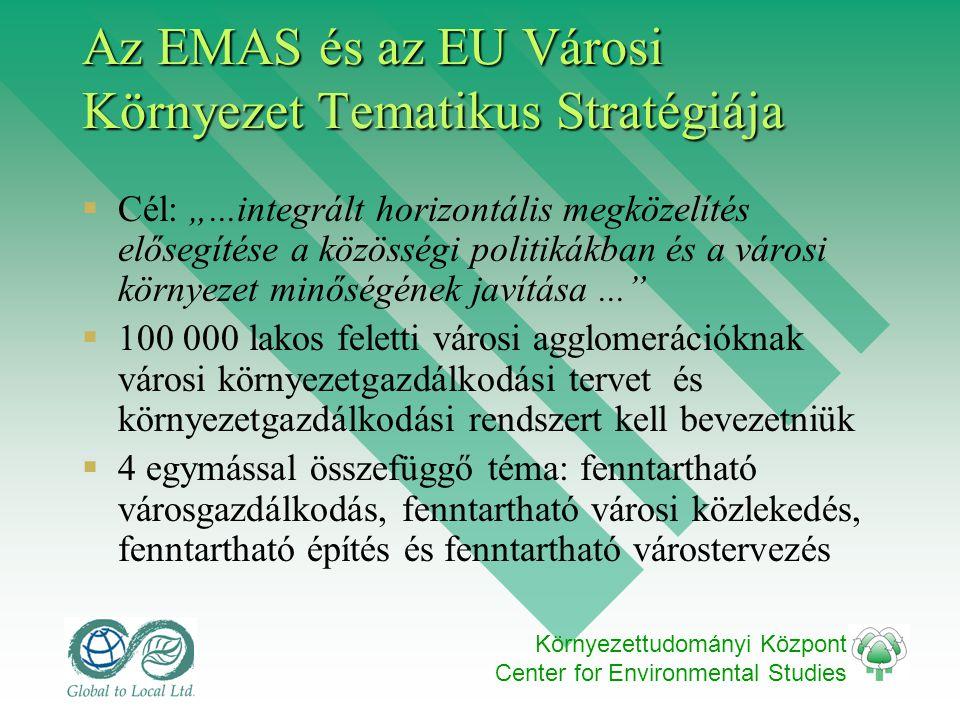 """Környezettudományi Központ Center for Environmental Studies Az EMAS és az EU Városi Környezet Tematikus Stratégiája  Cél: """"...integrált horizontális megközelítés elősegítése a közösségi politikákban és a városi környezet minőségének javítása...  100 000 lakos feletti városi agglomerációknak városi környezetgazdálkodási tervet és környezetgazdálkodási rendszert kell bevezetniük  4 egymással összefüggő téma: fenntartható városgazdálkodás, fenntartható városi közlekedés, fenntartható építés és fenntartható várostervezés"""