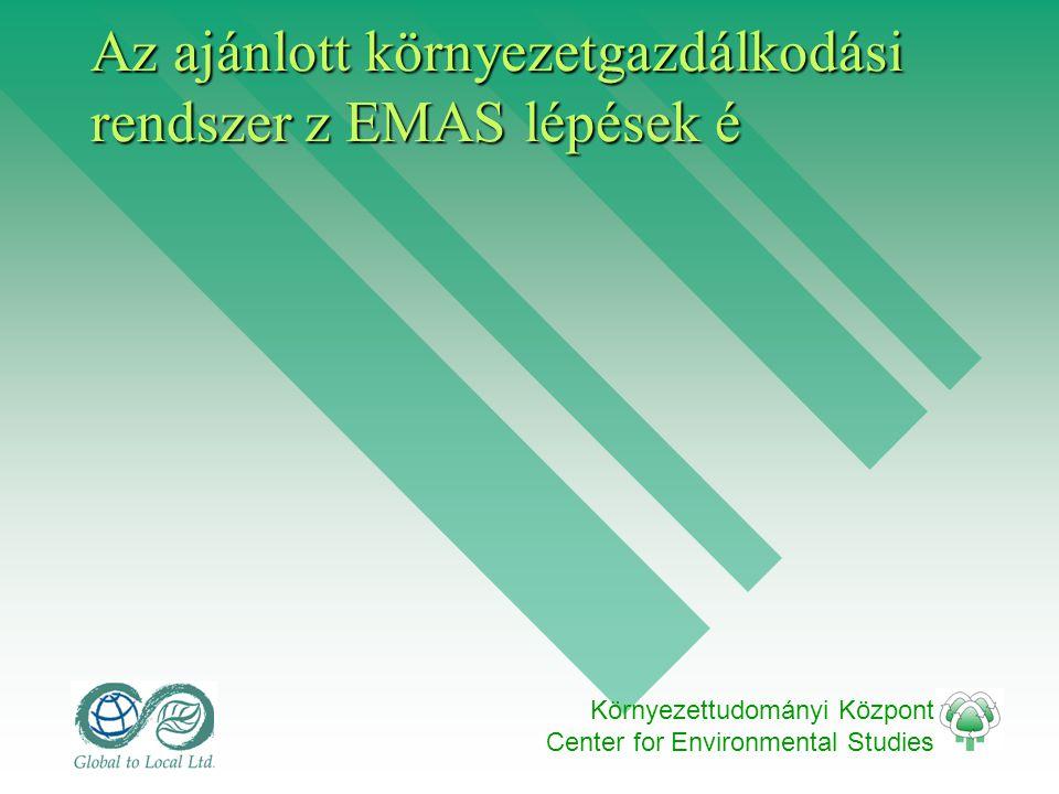 Környezettudományi Központ Center for Environmental Studies Az ajánlott környezetgazdálkodási rendszer z EMAS lépések é