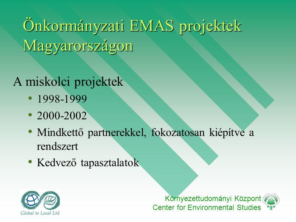 Környezettudományi Központ Center for Environmental Studies Önkormányzati EMAS projektek Magyarországon A miskolci projektek • 1998-1999 • 2000-2002 • Mindkettő partnerekkel, fokozatosan kiépítve a rendszert • Kedvező tapasztalatok