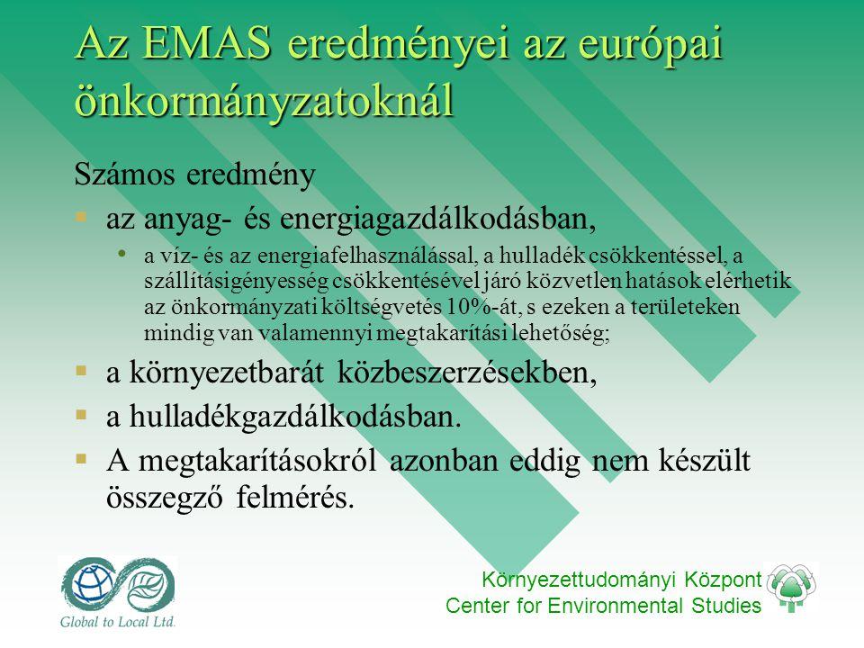 Környezettudományi Központ Center for Environmental Studies Az EMAS eredményei az európai önkormányzatoknál Számos eredmény  az anyag- és energiagazdálkodásban, • a víz- és az energiafelhasználással, a hulladék csökkentéssel, a szállításigényesség csökkentésével járó közvetlen hatások elérhetik az önkormányzati költségvetés 10%-át, s ezeken a területeken mindig van valamennyi megtakarítási lehetőség;  a környezetbarát közbeszerzésekben,  a hulladékgazdálkodásban.