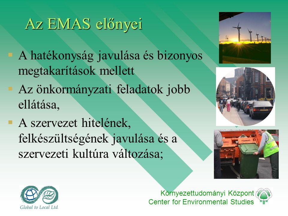 Környezettudományi Központ Center for Environmental Studies Az EMAS előnyei  A hatékonyság javulása és bizonyos megtakarítások mellett  Az önkormány