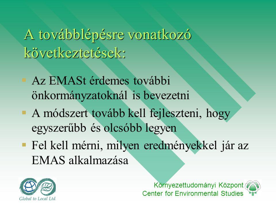 Környezettudományi Központ Center for Environmental Studies A továbblépésre vonatkozó következtetések:  Az EMASt érdemes további önkormányzatoknál is bevezetni  A módszert tovább kell fejleszteni, hogy egyszerűbb és olcsóbb legyen  Fel kell mérni, milyen eredményekkel jár az EMAS alkalmazása