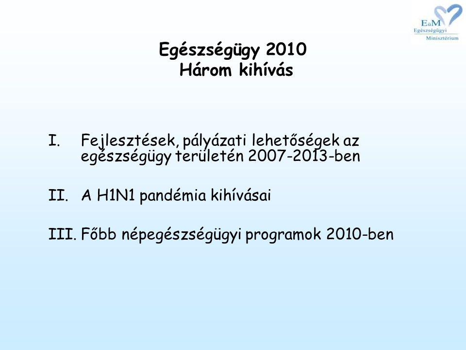 Egészségügy 2010 Három kihívás I.Fejlesztések, pályázati lehetőségek az egészségügy területén 2007-2013-ben II.A H1N1 pandémia kihívásai III.Főbb népegészségügyi programok 2010-ben