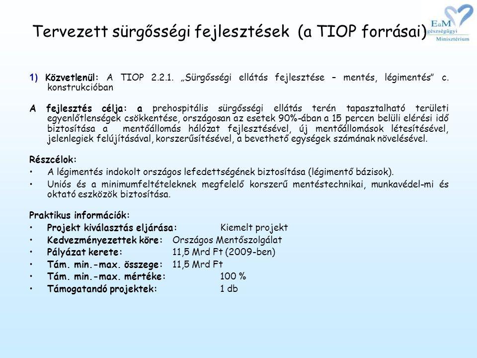 Tervezett sürgősségi fejlesztések (a TIOP forrásai) 1) Közvetlenül: A TIOP 2.2.1.