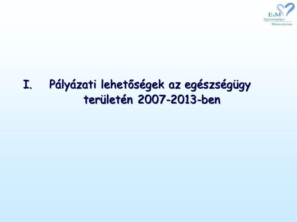I.Pályázati lehetőségek az egészségügy területén 2007-2013-ben
