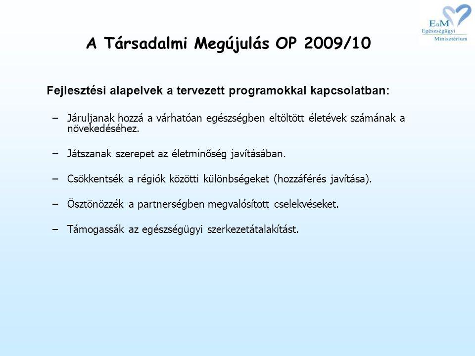 Fejlesztési alapelvek a tervezett programokkal kapcsolatban: –Járuljanak hozzá a várhatóan egészségben eltöltött életévek számának a növekedéséhez.