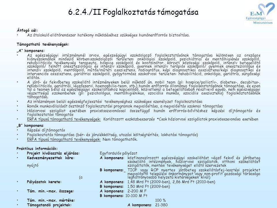 6.2.4./II Foglalkoztatás támogatása Átfogó cél: •Az átalakuló ellátórendszer hatékony működéséhez szükséges humánerőforrás biztosítása.