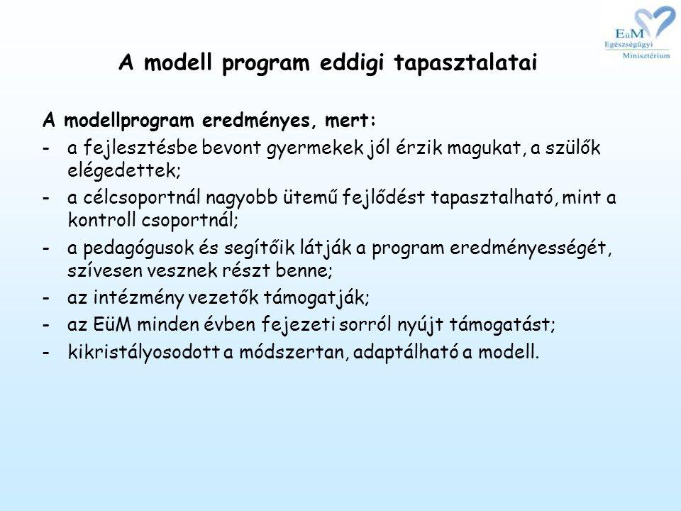 A modell program eddigi tapasztalatai A modellprogram eredményes, mert: -a fejlesztésbe bevont gyermekek jól érzik magukat, a szülők elégedettek; -a célcsoportnál nagyobb ütemű fejlődést tapasztalható, mint a kontroll csoportnál; -a pedagógusok és segítőik látják a program eredményességét, szívesen vesznek részt benne; -az intézmény vezetők támogatják; -az EüM minden évben fejezeti sorról nyújt támogatást; -kikristályosodott a módszertan, adaptálható a modell.