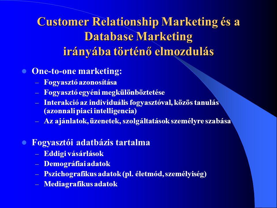 Customer Relationship Marketing és a Database Marketing irányába történő elmozdulás  One-to-one marketing: – Fogyasztó azonosítása – Fogyasztó egyéni megkülönböztetése – Interakció az individuális fogyasztóval, közös tanulás (azonnali piaci intelligencia) – Az ajánlatok, üzenetek, szolgáltatások személyre szabása  Fogyasztói adatbázis tartalma – Eddigi vásárlások – Demográfiai adatok – Pszichografikus adatok (pl.
