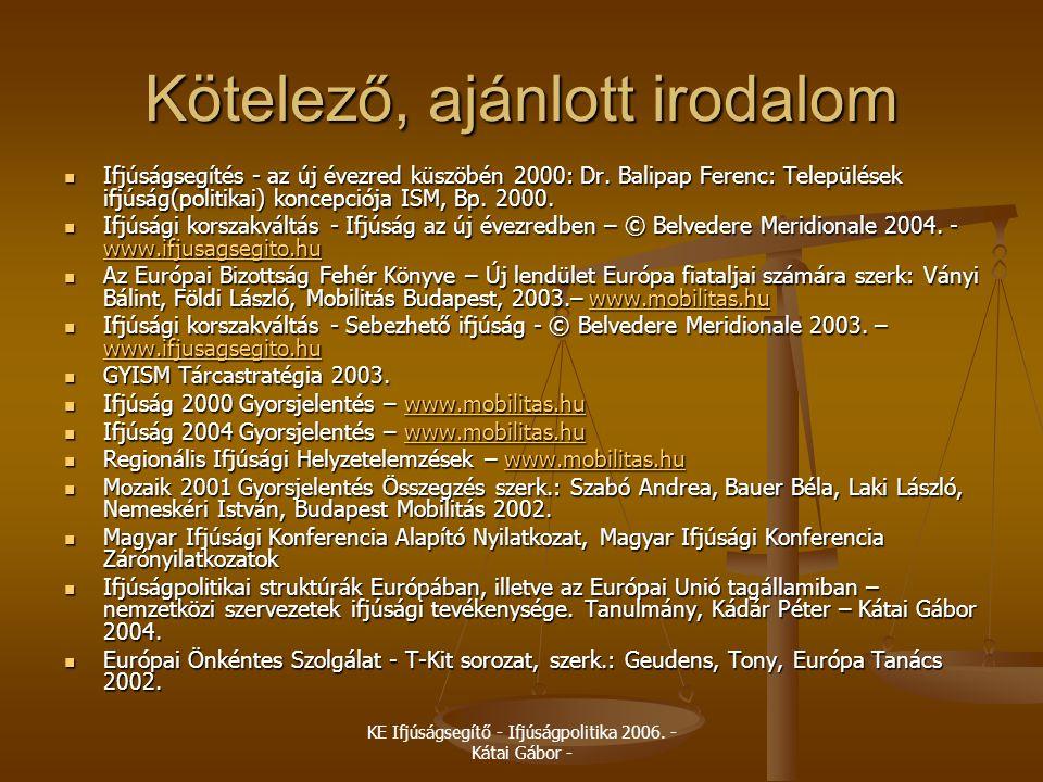 KE Ifjúságsegítő - Ifjúságpolitika 2006. - Kátai Gábor - Kötelező, ajánlott irodalom  Ifjúságsegítés - az új évezred küszöbén 2000: Dr. Balipap Feren