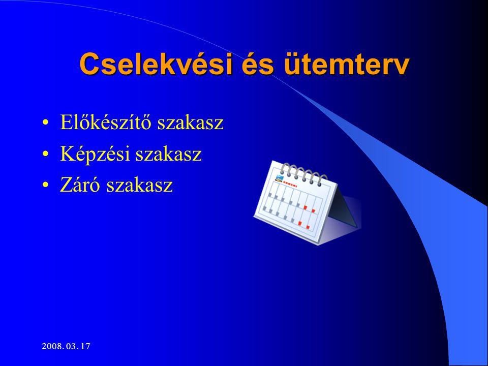 2008. 03. 17 Cselekvési és ütemterv •Előkészítő szakasz •Képzési szakasz •Záró szakasz