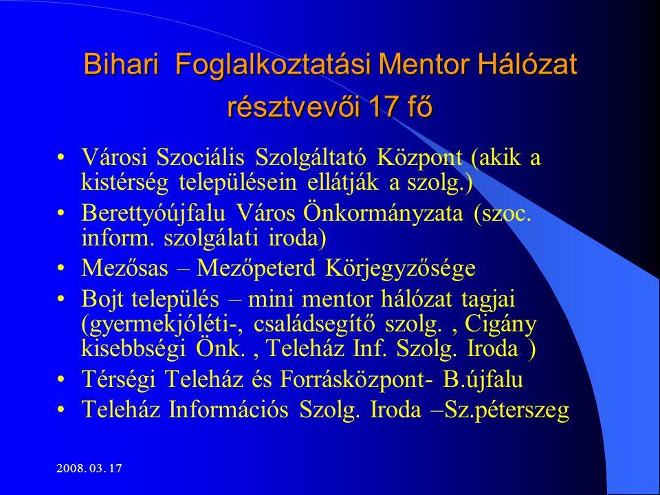 2008. 03. 17 Bihari Foglalkoztatási Mentor Hálózat résztvevői 17 fő •Városi Szociális Szolgáltató Központ (akik a kistérség településein ellátják a sz