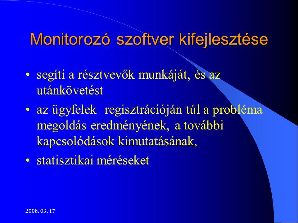 Monitorozó szoftver kifejlesztése •segíti a résztvevők munkáját, és az utánkövetést •az ügyfelek regisztrációján túl a probléma megoldás eredményének, a további kapcsolódások kimutatásának, •statisztikai méréseket