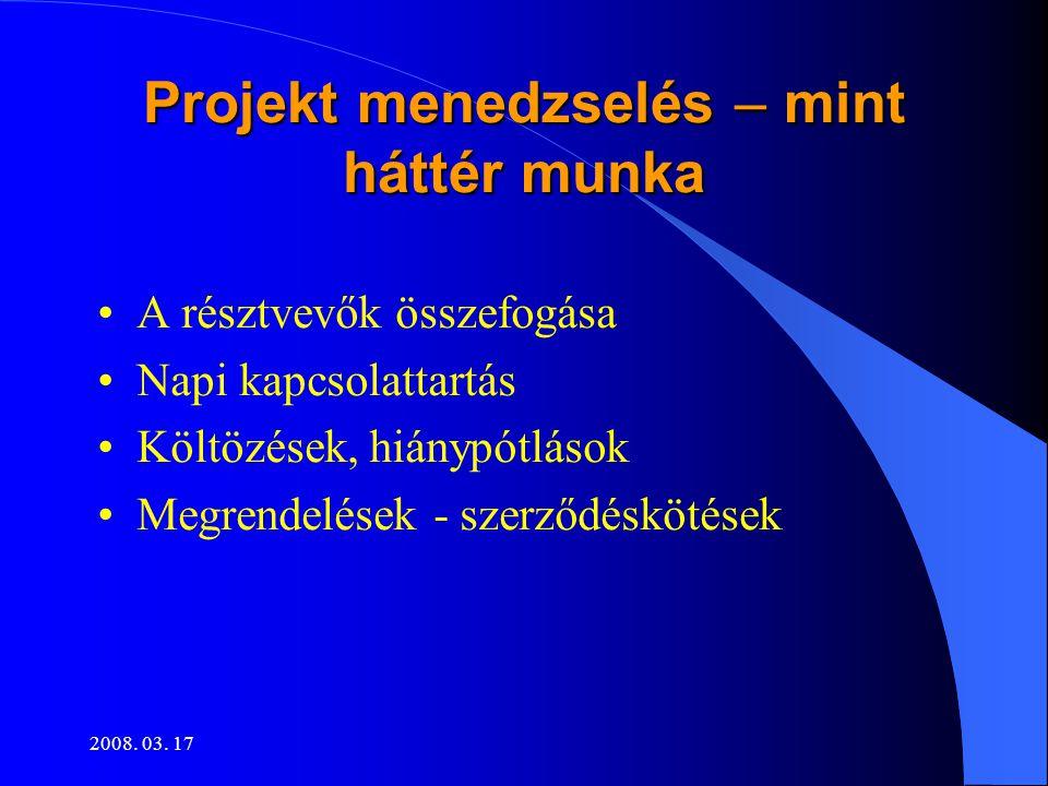 2008. 03. 17 Projekt menedzselés – mint háttér munka •A résztvevők összefogása •Napi kapcsolattartás •Költözések, hiánypótlások •Megrendelések - szerz