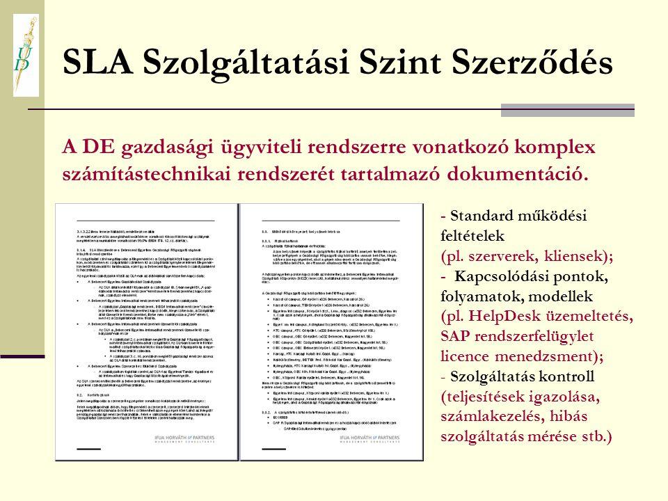 SLA Szolgáltatási Szint Szerződés A DE gazdasági ügyviteli rendszerre vonatkozó komplex számítástechnikai rendszerét tartalmazó dokumentáció. - Standa