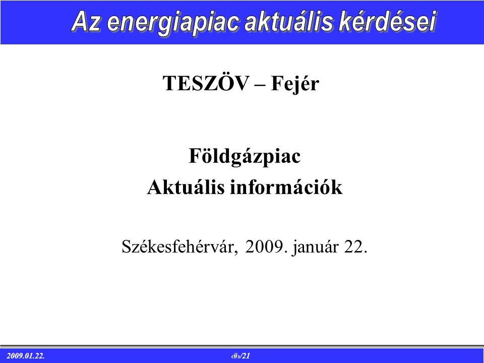 2009.01.22. 1/21 TESZÖV – Fejér Földgázpiac Aktuális információk Székesfehérvár, 2009. január 22.
