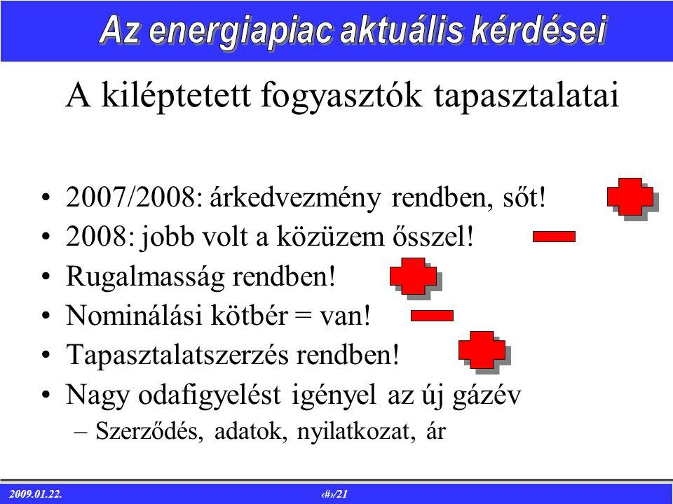 2009.01.22. 15/21 A kiléptetett fogyasztók tapasztalatai •2007/2008: árkedvezmény rendben, sőt.